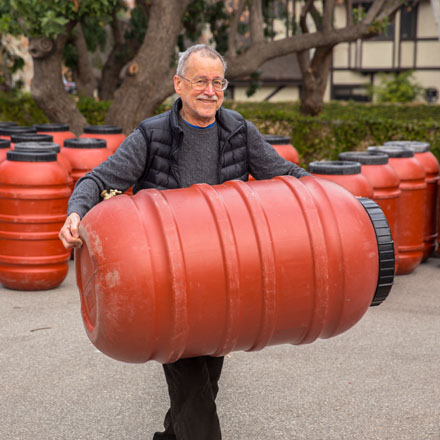 Rain barrels are an easy and cost-effective way to begin harvesting water in the garden. Photo: courtesy of TreePeople