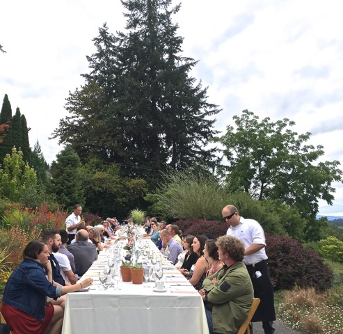 Guests enjoyed local seasonal fare in the heart of the garden at this year's Chef in My Garden event. Photo: Bob Hyland