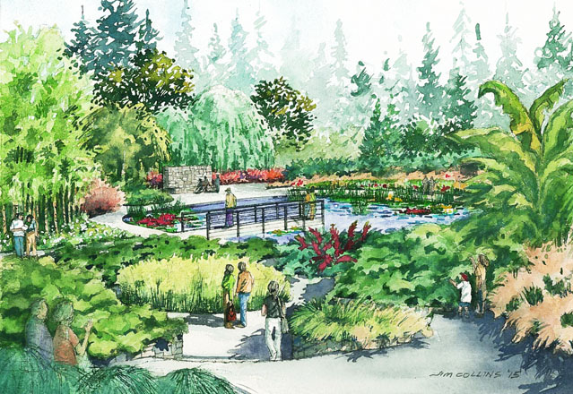 Artist's rendering of future water, bog, and wetland gardens. Illustration: Land Morphology