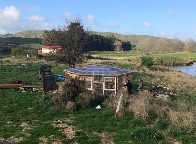 Building a hexagonal greenhouse, pictured here as it neared completion, was a WWOOFing project during my time at Mangarara Family Farm in New Zealand. 