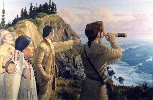 Fun-Geography-for-Kids-on-Lewis-and-Clark-image-of-Sacagawea-Joining-Lewis-and-Clark