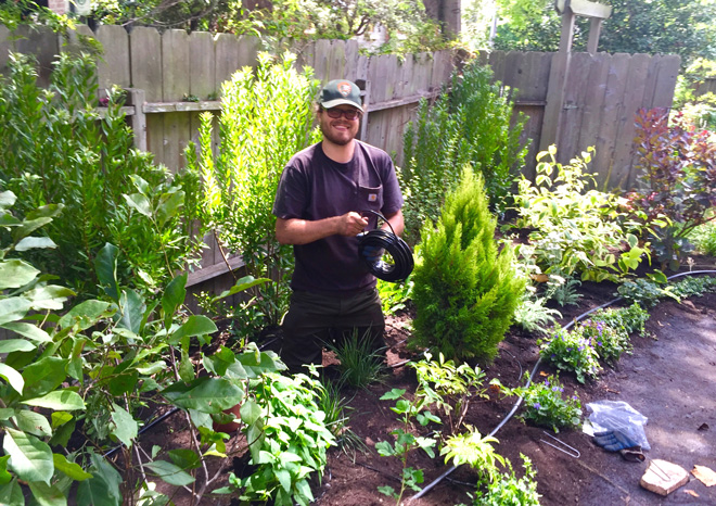 With expertise in stonework, plants, and installing irrigation systems, Kyle brings a lot to the job of building gardens.  Photo: Andrea Hurd