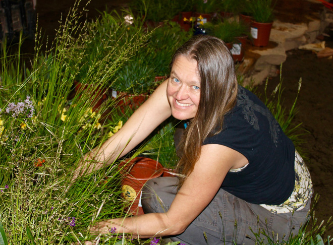 Contributor Andrea Hurd, seen here installing an award-winning display garden at the San Francisco Flower & Garden Show in 2014. Andrea is the founder-owner of Mariposa Gardening & Design Collective, Inc.  Photo: Rose Hurd