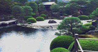 Gardens at the Adachi Museum integrate the surrounding landscape into their composition (Shakkei). Photo: Greg Graves