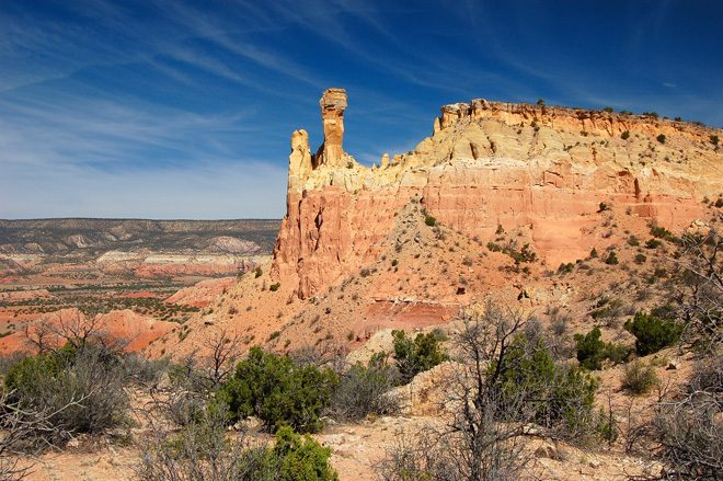 Chimney Rock is a part of the iconic New Mexico landscape revered by artist Georgia O'Keeffe. Photo: Larry Lamsa CC BY 2.0