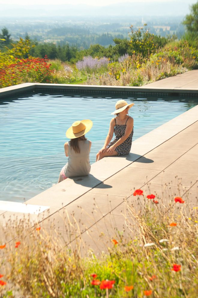 A pool set in the lush landscape at Westwind Farm Studio offers welcome refreshment on a hot July day. Photo: Scott Weber