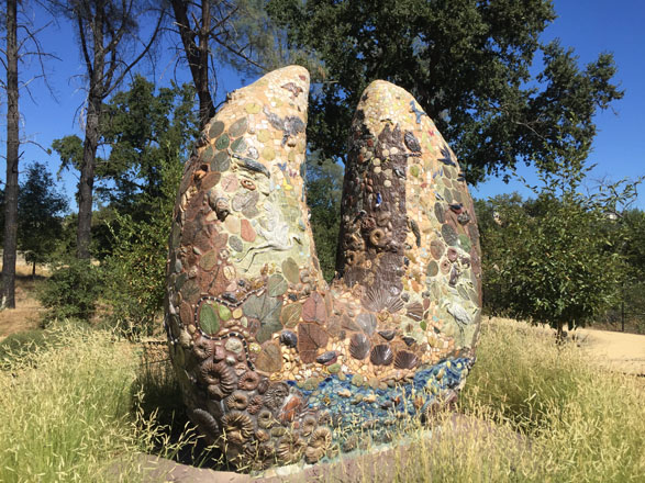 Earthstone, a mosaic sculpture by Colleen Barry.  Photo: David A. Laws