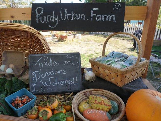 A homemade rolling wooden farm stand at Purdy Urban Farm offers up a generous harvest for sharing. Photo: Susan Purdy