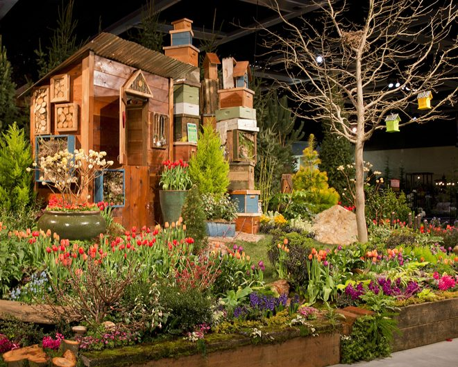 "This 2015 display garden created by West Seattle Nursery titled, ""Birds do it, Bees do it…"" received many awards, including 