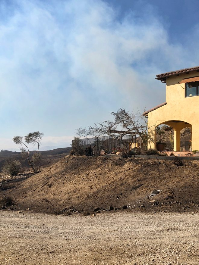 """The fire consumed the southeast-facing slope of our property that was planted with rosemary, aloe, and ""fire retardant"" plants, but stopped shy of the home."" Photo: Jacqui Bally"