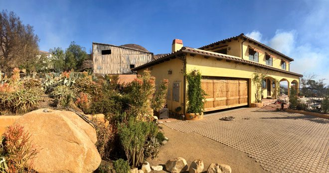 "The southwest-facing front of the house was spared. ""You can't even tell there was a fire! My fire sticks, pride of Madeira, agaves, aloes, and barrel cacti all survived just fine."" Unfortunately, a neighbor's home 100 yards away burned to the ground. Photo: Jacqui Bally"